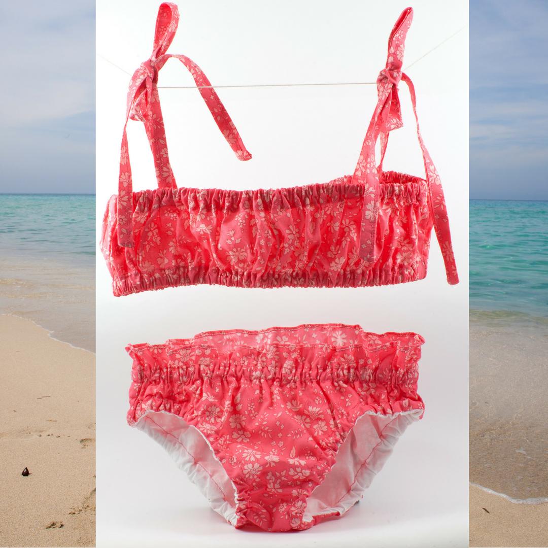 Bikini 2pièces Liberty pour petites filles en Capel corail