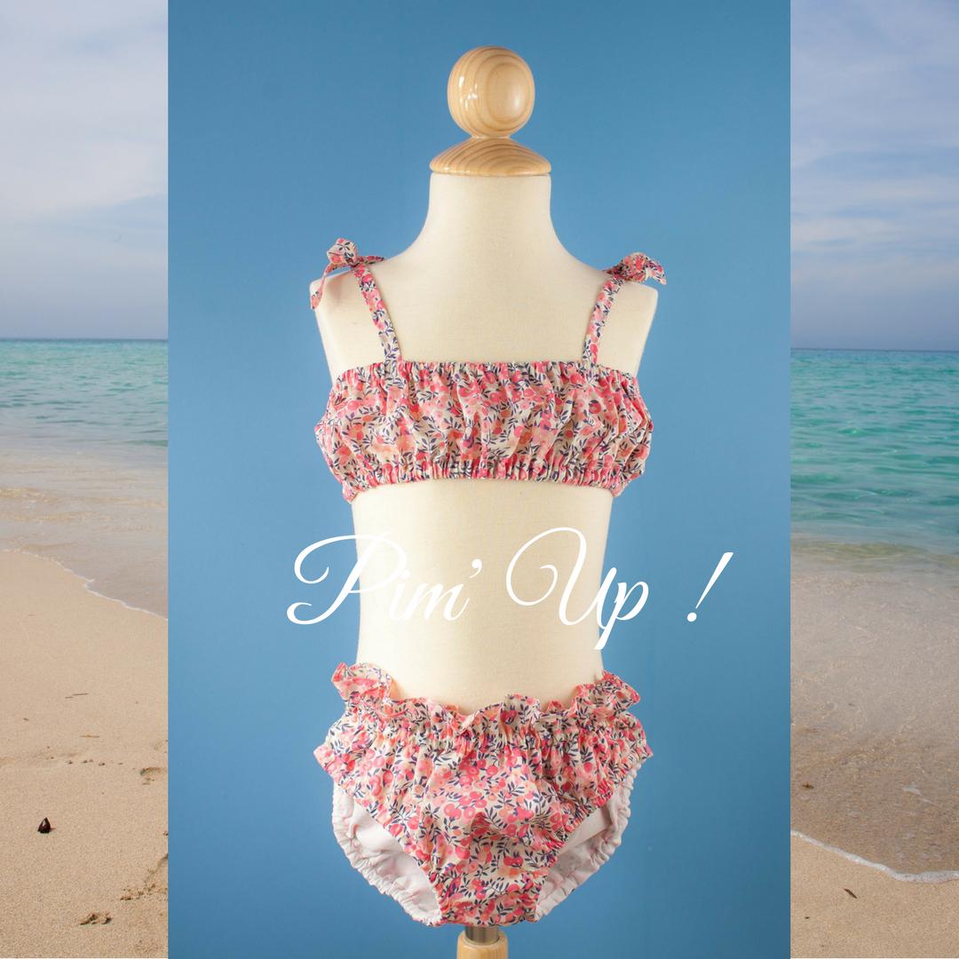 Bikini Pim'Up joliPim' Liberty wilthsire pois de senteur pour petite fille 100% coton