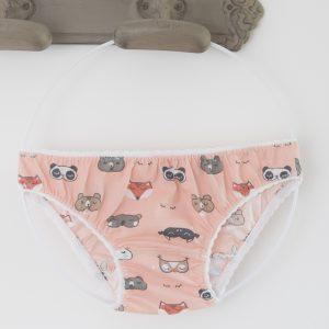 Petite culotte rose masques d'animaux de la foret JoliPim' zoom