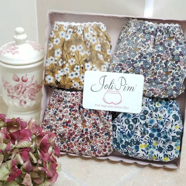 coffret lot de 4 culottes jolipim fille en Liberty
