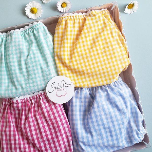 coffret de 4 culottes en Vichy aux coloris acidulés gais JoliPim' pour petite fille de 2 à 10 ans